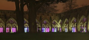 Light show in Salisbury Cathedral cloisters.